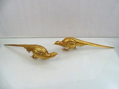 WONDERFUL GOLD PLATED PAIR of PHEASANTS BIRDS TABLE ORNAMENT VERY LARGE vintage