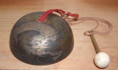 Antique Chinese Bronze Hanging Bell w/Marble Clapper & Dragon Engraved Decorated