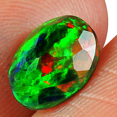 0.9CT Ethiopian Play Of Color Black Opal Faceted Cut  Natural UQOP2215