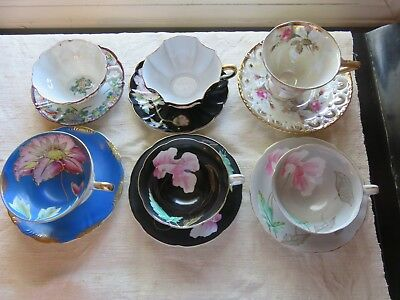 Lot of 6 Ornate Vintage China Tea Cups and Saucers Japan Hand Painting & Gilt