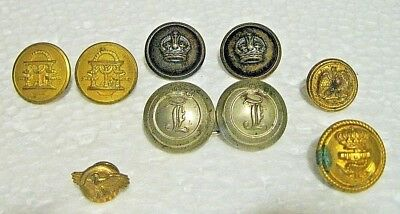 Vintage Mixed Lot Of Military Service Buttons & Sterling Eagle Pin
