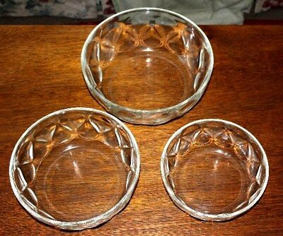 Lot of 3 Heavy Clear Glass Bowls, Matched set, Used