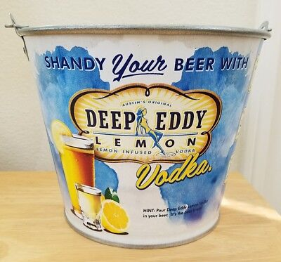 New! Deep Eddy Lemon Vodka Vintage Inspired Metal Tin Ice Bucket Pail