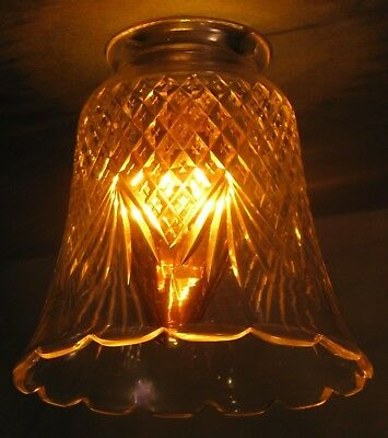 Vintage Pressed Glass Fitter Shade Hanging Wall Lamp Clear Diamond Quilted