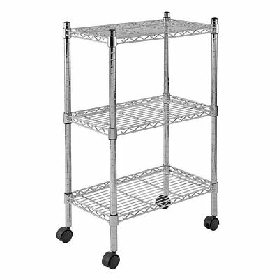 "Sandusky MWS221333 3-Tier Mobile Wire Shelving Unit with 2"" Nylon Casters, 3 33"""