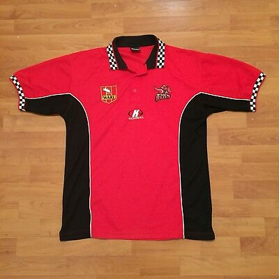 WA Reds Rugby League Kombat WARL Polo Shirt Supporters Black Red Mens Large
