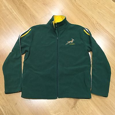 South Africa SA Rugby Full Zip Windcheater Jumper Polyester Fleece Green Mens L