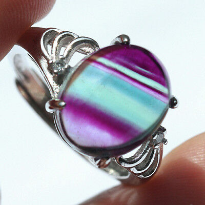 16.5CT 100% Natural 18K Gold Plated Bi Color Watermelon Fluorite Ring UDVU82