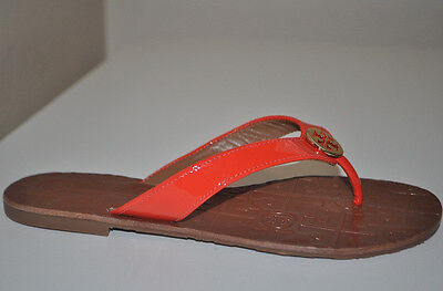 81e343a6edb0d4 NEW Tory Burch THORA RED ORANGE Patent Leather Thong Flip Flops Sandals Sz 5