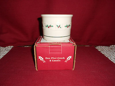 Longaberger  ONE PINT HOLLY CROCK & CANDLE!   NIB!    BUY IT NOW!   USA!   SALE!