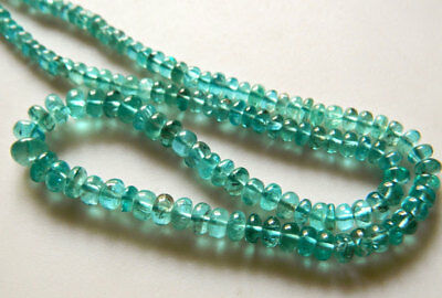 Blue Green Apatite Rondelle Beads 4mm To 7mm Bead 9 Inches Half Strand
