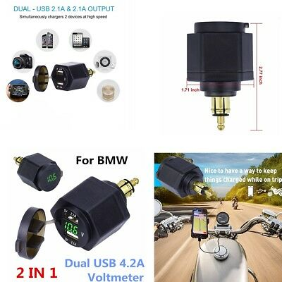 Waterproof Dual USB Charger Adapter Green LED Voltmeter For BMW Din Hella Plug