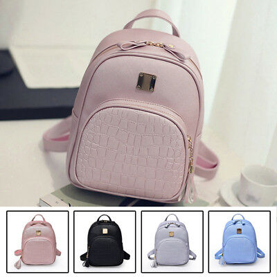 Womens Girls Cute MINI LEATHER School Bags Backpack Travel Rucksack Shoulder Bag