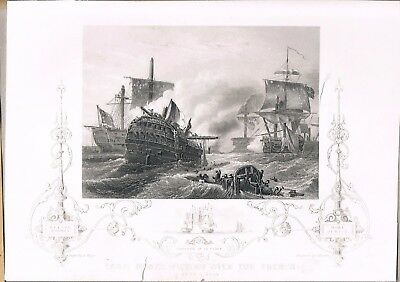Engraving Capture Of Le Pique Lord Howes Victory Over The French 1794