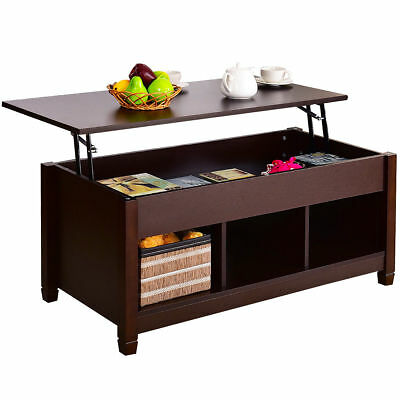 Lift Top Coffee Table Modern Furniture Hidden Compartment And Tablet Brown