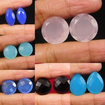 Natural Dyed Faceted Multi Chalcedony & Black Onyx Cut Gemstone KR810