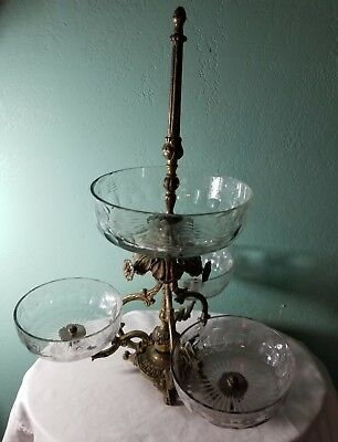 Fabulous Huge Hollywood Regency 4 Crystal Bowl Compote Centerpiece