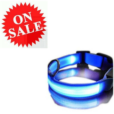 Safety Dog Blue Multi-Function Adjustable Flashing LED Light Pets Night Collar