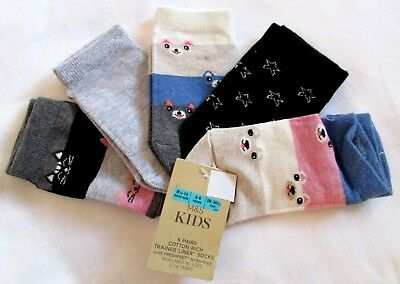 New Girls Socks Age 3-6 Years Shoe Size 8.5-12 Marks & Spencer Cotton Rich