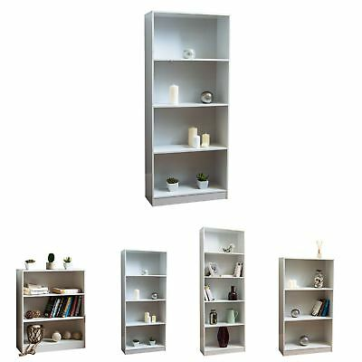 Cambridge Bookcase Display Shelving Storage Unit Stand Wooden Shelves White