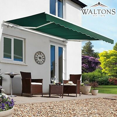 Waltons Patio Awning Manual Fabric Canopy Shelter Garden Shade Half Cassette NEW