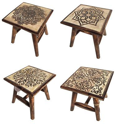 25cm Brown Hand Carved Mango Wood Square Wooden Stool Coffee Table 4 Designs