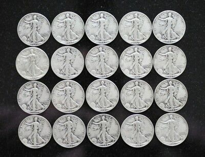 Roll of Walking Liberty Silver Half Dollars $10 Face 20 Coins [06DUD]