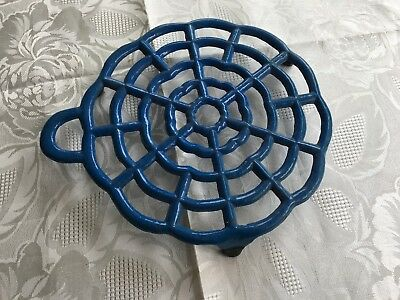 Vintage French blue enameled cast iron trivet on 3 feet
