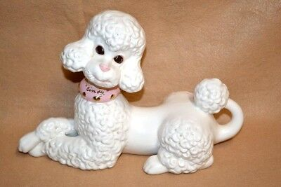 "Large Vtg French Poodle Dog Statue Figurine 11"" Long w/Pink Collar Atlantic Mold"