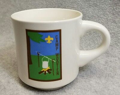 Vintage Boy Scout BSA Stoneware Coffee Cup Mug Camp Wooten Washington