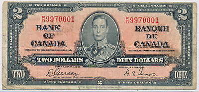 Bank Of Canada 2 Dollars 1937 Bc22B - Vg/fn
