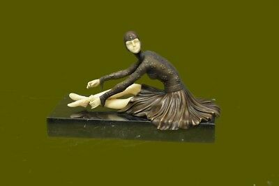 Handcrafted bronze sculpture SALE Dance Sitting Elegant Chiparus Demetre Signed