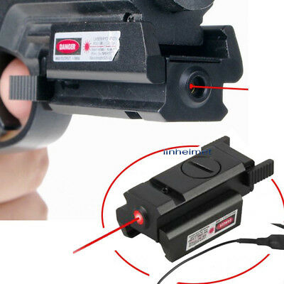 Tactical Pistol RED Dot Laser Adjustable Compact Sight Fit Rail 20mm + Switch