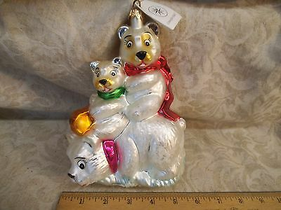 Christopher Radko 3 Polar Bears Large Tree Ornament-Mouth Blown Glass 7
