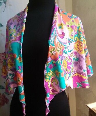 VINTAGE WINGTIP SCARF -psychedelic design-beautiful colors pink turquoise