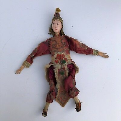 "Antique 1900s 10 1/2"" Chinese Antique Warrior Opera Doll Original Silk Outfit"