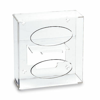 """Double Side Load Glove Dispenser with Hanger, Acrylic, 10.125""""W x 4.125""""D x 1..."""