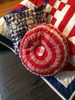 Vtg Hand Smocked Throw Pillows Red White Blue Patriotic