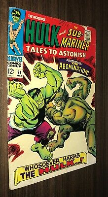 TALES TO ASTONISH #91 -- May 1967 -- ABOMINATION -- VG- Or Better