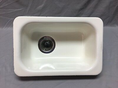 Vtg Cast Iron White Porcelain Drop In Single Basin Kitchen Prep Sink Old 61-18J