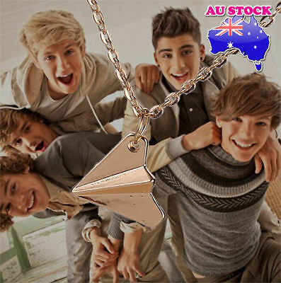 One Direction 1D Harry Styles Paper Airplane Silver, Black & Gold Necklaces AU