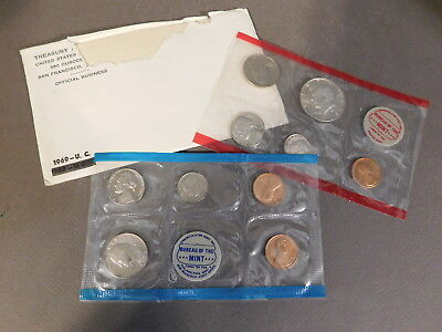 1969 Us Mint Uncirculated D & P Coin Set With 40% Silver Half Dollar