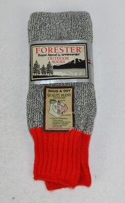 Vtg Forester Rugged Thick Snug & Dry Acrylic Outdoor Hiking Socks Gray/Red