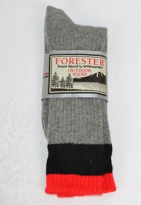 Vtg Forester Rugged Thick Wool Blend Outdoor Hiking Socks Gray/Red/Black