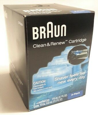 3 Count Braun Self Clean Charge Renew Refill Shaver Cartridges Series 3 5 7 9