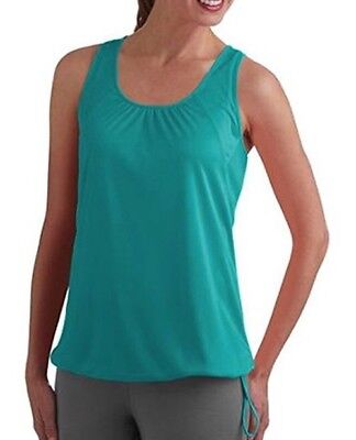 fbddb622bf8161 NEW Danskin Now Active Wear Tank Bungee Drawstring Teal Blue Green Small