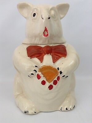 Vintage 1940s McCoy Pottery USA Bear w/ Cookie In Vest