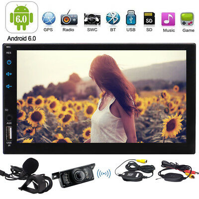 """Android Car Stereo GPS 7"""" Touch Screen Double 2 Din Radio Bluetooth+Free Camera"""