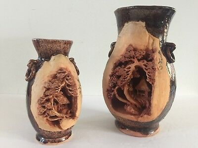 Banko Ware Carved Pottery Japanese Decor Pagoda Landscapes Antique