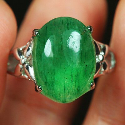22.7CT 100%Natural 18K Gold Plated Green Strawberry Rutilated Quartz Ring UDIS81